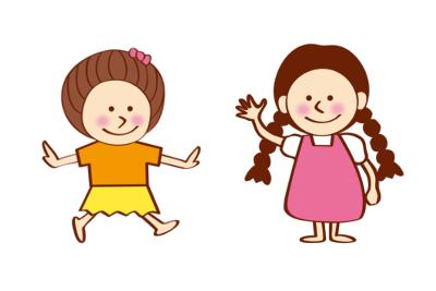 友人と遊ぶ女の子のイラスト